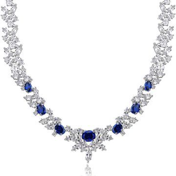 Icz Stonez Sterling Silver 66 7/8ct Blue and White Cubic Zirconia Wreath Necklace (Silver Blue CZ)