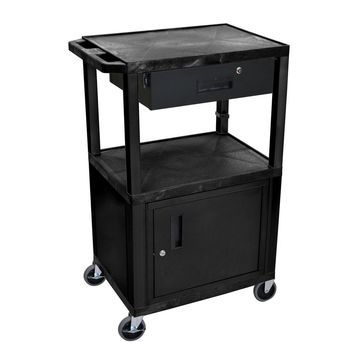Offex Multipurpose Utility Cart with Cabinet and Drawer - Black