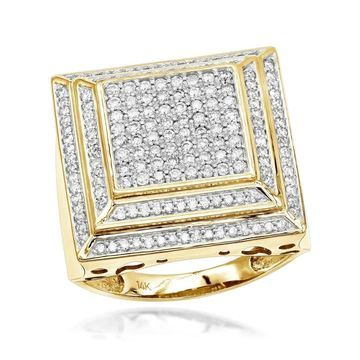 Luxurman 14K Pave Men's Diamond Ring 2 ct