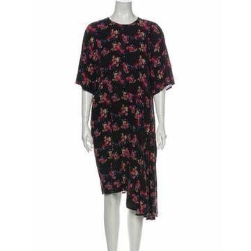 Floral Print Midi Length Dress Black