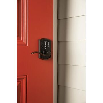 Schlage FE695-CAM-ACC Camelot Touch Entry Door Lever Set with Accent Lever Aged Bronze Leverset Keyless Entry Electronic