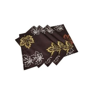 """Xia Home Fashions Rustic Autumn Embroidered Fall Placemats, 14"""" x 20"""", Set of 4"""