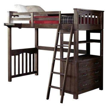 NE Kids Highlands Twin Loft Bed with Desk in Espresso
