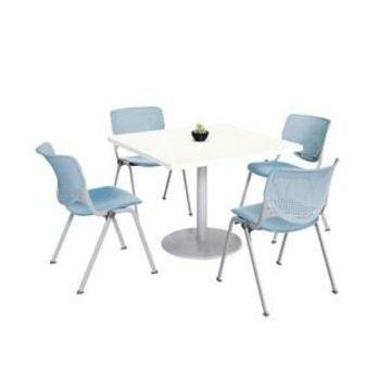 KFI KOOL Table & Chair set, White Table Top (36 inch table top - Sky Blue)