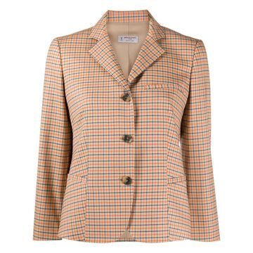 checked collared jacket