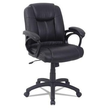 Alera CC Series Executive Mid-Back Bonded Leather Chair, Supports Up To 275 lb., 18.5 in. to 22.24 in. Seat Height, Black