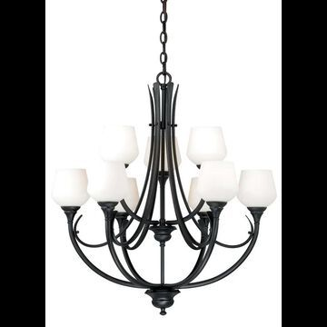 Vaxcel Lighting H0127 Grafton 9 Light Two Tier Chandelier with Glass Shades - 28.5 Inches Wide Oil Rubbed Bronze Indoor Lighting Chandeliers