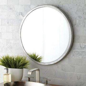 Divinity Hammered Aluminum Round Mirror - Silver - A/N