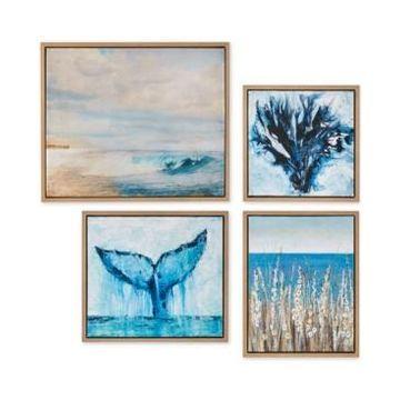 Madison Park Seascape 4-Pc. Framed Gel-Coated Canvas Print Set