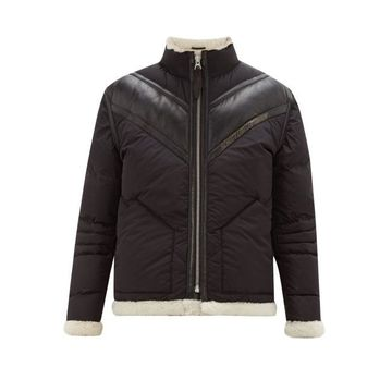 Schott - Shearling-lined Technical Down-filled Jacket - Mens - Black