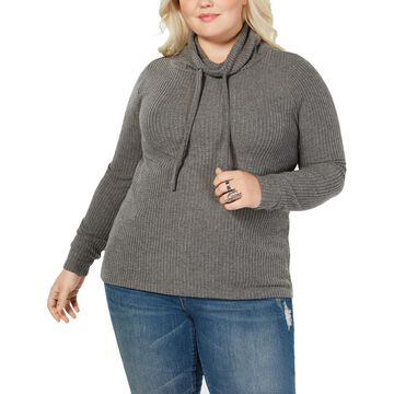 Planet Gold Womens Plus Cowl Neck Long Sleeves Top