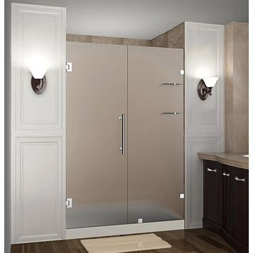 Aston Nautis GS 72-in H x 54-1/4-in to 55-1/4-in W Frameless Hinged Shower Door (Frosted Glass) Stainless Steel   SDR990FSS5510