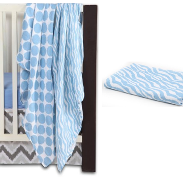 Bacati Ikat Zebra & Dots 4 Piece Crib Bedding Set with 2 Muslin Swaddling Blankets, Blue/Gray