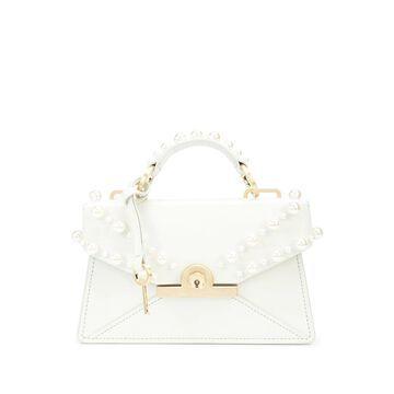 Amelia pearl-embellished leather clutch bag