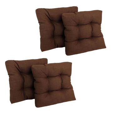 Blazing Needles Dacron 4-Piece Cocoa Patio Chair Cushion Polyester