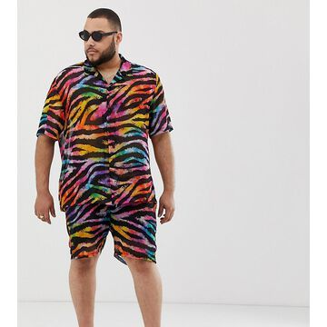 Jaded London festival two-piece shorts in rainbow tiger print