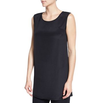 Ponte Knit Longer Tank, Black, Petite