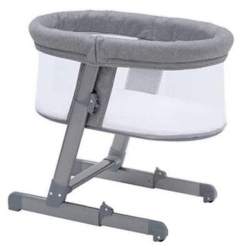 Simmons Kids City Sleeper Oval Bassinet in Grey with Quilted Mattress by Delta Children