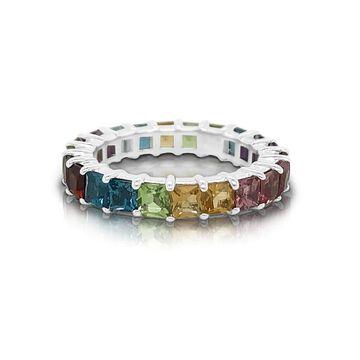 Noray Designs 14K Gold Rainbow Multicolor Gemstone (3MM) Eternity Ring