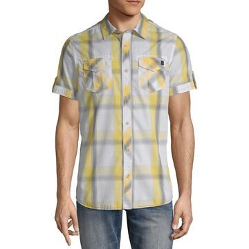 i jeans by Buffalo Mens Short Sleeve Plaid Button-Front Shirt