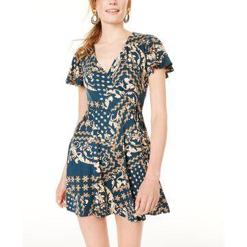 Juniors' Printed Wrap Dress