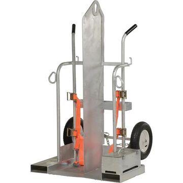 Vestil Welding Cylinder Cart with Fork Pockets - 500-Lb. Capacity, Pneumatic Wheels, Galvanized Finish, Model CYL-2-G