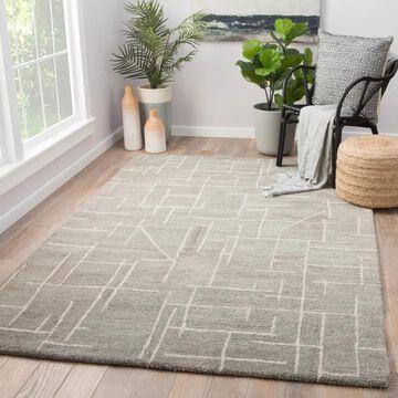 Jetson Grey/Cream Wool Handmade Abstract Area Rug (9' x 12') - 8'10