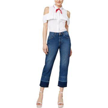 DL1961 Womens Frayed Straight Leg Jeans