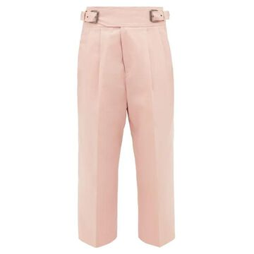 Marni - Buckled Cotton-blend Cropped Trousers - Womens - Pink