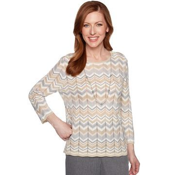 Women's Alfred Dunner Necklace & Embellished Zigzag Sweater