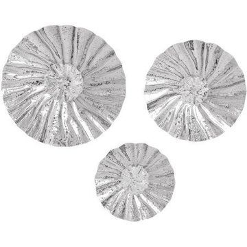 Decmode Stainless Steel Platter, Set of 3, Silver