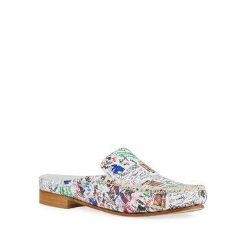 Soley Graffiti Printed Leather Mules