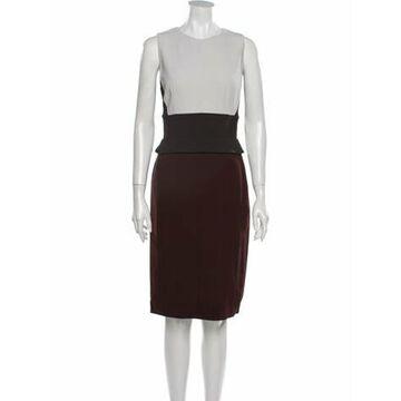 Crew Neck Knee-Length Dress Brown