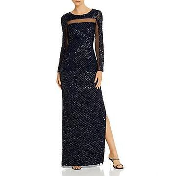 Aidan Mattox Embellished Open-Back Gown