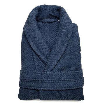 Linum Home Textiles Unisex Herringbone Weave Bathrobe, Men's, Size: Small/Medium, Blue