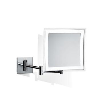 Ws Bath Collections Wall Mounted Lighted Magnifying Mirror in Polished Chrome Bedding