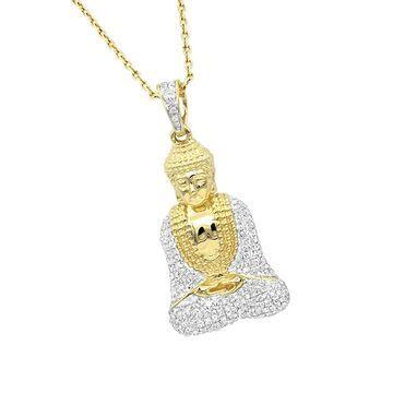 Luxurman Solid 10K Gold Diamond Buddha Pendant 1/2ct