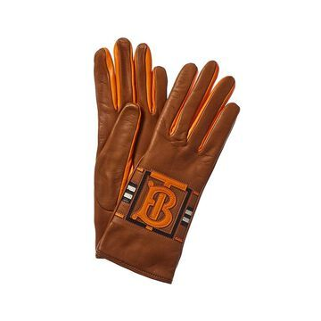 Burberry Womens Cashmere-Lined Leather Gloves