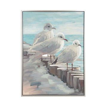 Decmode Modern Perched Birds On Log Wood-Framed Wall Art, Multi