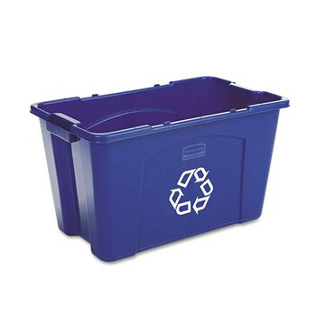 Rubbermaid Commercial Stacking Recycle Bin Rectangular Polyethylene 18gal Blue