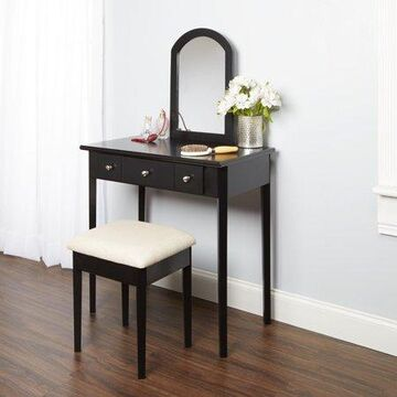 Mainstays Mirror Vanity With Bench, Powered Outlet, and 2-USB Ports, Black