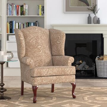 Elaina Cream Paisley Print Wingback Accent Chair by Greyson Living - See Product Description (Cream)