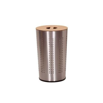Household Essentials Round Brushed Stainless Laundry Hamper
