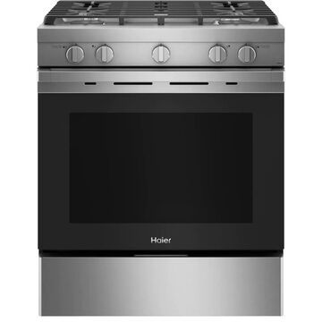 Haier Smart 30-in 4 Burners 5.6-cu ft Convection Oven Slide-In Gas Range (Stainless Steel) | QGSS740RNSS
