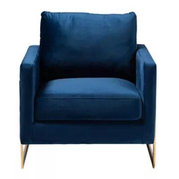 Baxton Studio Alton Armchair In Blue Royal Blue/gold