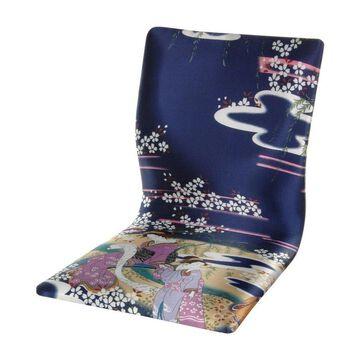 Oriental Furniture Tatami Meditation Asian Indigo Blend Accent Chair | TM-CHAIR-GBLU