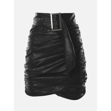 For Love & Lemons Faux Leather Wrap Mini Skirt