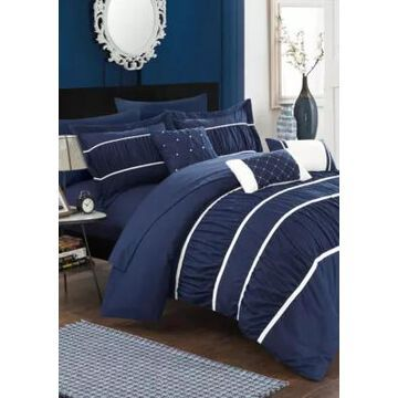 Chic Home Cheryl 10-Piece Complete Bedding Set With Sheets - Navy - -