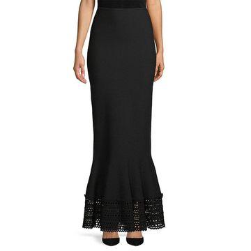 Alaia Womens Laser-Cut Long Skirt