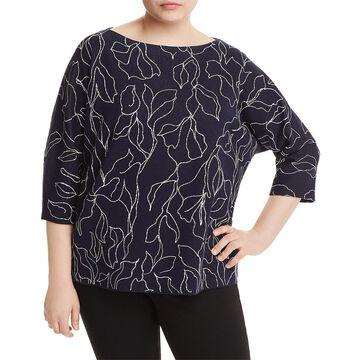 Lafayette 148 New York Womens Plus Metallic Printed Pullover Sweater